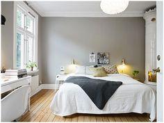 Stadshem / décoration de chambre avec une très jolie couverture de lit au tricot + belle association de couleurs