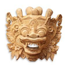 Balinese Wood Mask 'Magical Barong' Hand Carved Acacia Wall Sculpture NOVICA #Novica