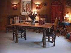 Hickory Furniture - I like the warmth it gives off Hickory Furniture, Cabin Furniture, Furniture Decor, Cabins And Cottages, Rustic Decor, Home Furnishings, Dining Table, Mountain, Houses