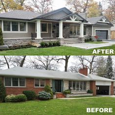(Swipe ◀️) Check out the exterior transformation of this bungalow by Ontario's Prestige Custom Homes. The (Swipe ◀️) Check out the exterior transformation of this bungalow by Ontario's Prestige Custom Homes. The update makes such a huge… Ranch Exterior, Exterior Remodel, Bungalow Exterior, Porch On Bungalow, Craftsman Home Exterior, Bungalow Homes, House With Porch, Exterior House Colors, Exterior Design