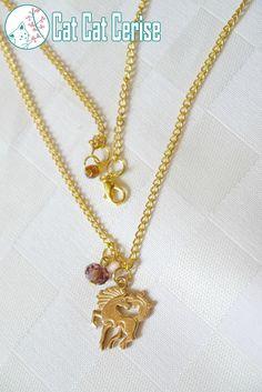 Collar Unicornio, adornado por un cristal sumamente brilloso. #Unicornio #Collar #Dorado #Cristal