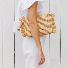 Loeffler Randall Tassel pouch in natural raffia with raffia pom poms Size: L D x Ted Baker Handtasche, Bohemian Style, Boho Chic, Basket Bag, Summer Bags, Spring Bags, Mode Inspiration, Fashion Inspiration, Mode Style