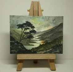 Aceo original landscape trees river valley sunset birds rocks metcalfe
