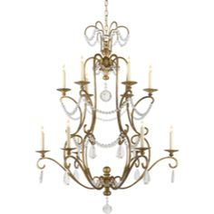 Chart House from Visual Comfort designed by Sandy Chapman Jumbo Orvieto Chandelier in Gilded Iron with Seeded Glass Drops CHC1521GI-SG