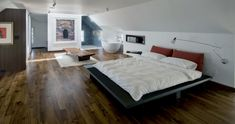 Contemporary attic bedroom with an en-suite bathroom » Adorable Home
