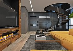 Dramatic interior of a charismatic bachelor on Behance Colorful Interior Design, Interior Design Studio, Colorful Interiors, Square Floor Plans, Aesthetic Solutions, Miami Houses, Family Apartment, Luxury Apartments, Cozy House
