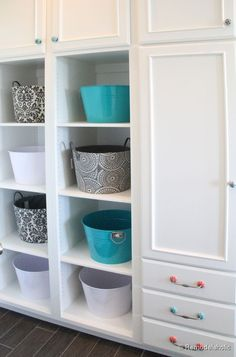 Double Laundry and Crafting Room Fabulous Laundry room design ideas from @Remodelaholic Laundry Storage, Laundry Room Organization, Laundry Room Design, Organizing, Laundry Room Remodel, Laundry Rooms, Mud Rooms, Small Spaces, Shelves