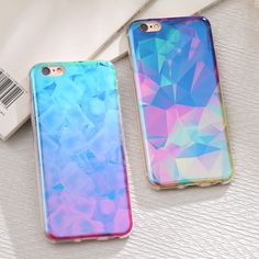 Ultra Slim Blue Ray Light TPU Case For iPhone 7 7 Plus 6 6S Plus Colorful Crystal Soft Silicone Back Cover For iPhone 6S 7 Plus