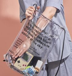 PAGE THREE HUNDRED Label&Studio designed the branding for 'from A to B (fear of B)', a limited edition capsule collection of minimalist transparent backpacks and coats. Look Casual, Casual Chic, Transparent Bag, Look Fashion, Fashion Design, 90s Fashion, Fashion Bags, Moda Vintage, Clear Bags