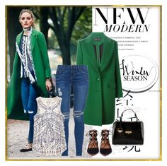 green coat by berta93 on Polyvore featuring polyvore, fashion, style, Lucky Brand, Cédric Charlier, Current/Elliott, Aquazzura, Versace and clothing