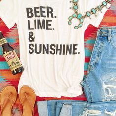 Chaser Beer.Lime.Sunshine Tee. Summer must haves! Add a squash blossom and your set!