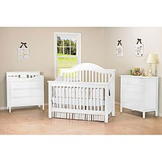 @Overstock.com - DaVinci Jayden 4-in-1 Crib with Toddler Rail in White - Perfect for you nursery, this bed transforms and grows with your baby. With a couple of simple steps, transform the crib to a day bed and with the conversion kit, to a full-size bed.    http://www.overstock.com/Home-Garden/DaVinci-Jayden-4-in-1-Crib-with-Toddler-Rail-in-White/6201040/product.html?CID=214117  $285.99
