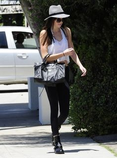 Kendall Jenner wearing Balenciaga City Bag Balenciaga Spring 2011 RTW Cut Out Boots Free People Galloon Lace Halter Bra Andy LeCompte Salon in West Hollywood May 30 2013