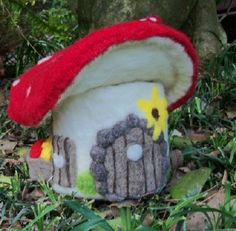 Items similar to Red Cap Mushroom Fairy House Gnome Home Extra Large Needle Felted on Etsy Felt Mushroom, Mushroom House, Red Cap Mushrooms, Stuffed Mushrooms, Wet Felting, Needle Felting, Christmas Decorations, Christmas Ornaments, Holiday Decor