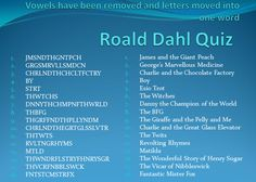 Roald Dahl stories quiz - List of Roald Dahl books with the vowels removed - can your pupils name them all?