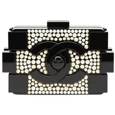 2014 Chanel Black Pearlized Plexiglass Lego Boy Clutch (61.115 HRK) ❤ liked on Polyvore featuring bags, handbags, clutches, chanel purse, chanel handbags, preowned handbags, chanel pochette and pre owned handbags