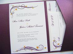 Pocketfold Wedding Invitations  Autumn Day by LittleSparkCreations, $131.25
