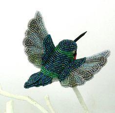 Hummingbird Ornament Beaded Clip On Bird by MeredithDada on Etsy, $76.00