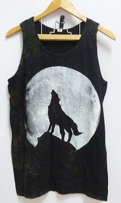 Wolf moon night art Black Unisex women men teen Stone washed Tank top size M/L bleached sleeveless singlet tshirt on Etsy, $14.80