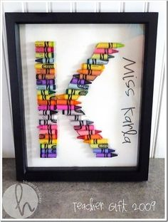 Create a letter with crayons! Great for a craft or class gift!