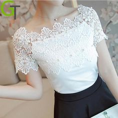 Blusas Femininas 2017 Summer Women Blouse Lace Vintage Beading White Renda Crochet Casual Shirts Korean Slim Female Tops Camisas Source by official_noashe summer Blouse Vintage, Classy Outfits, Blouse Designs, Blouses For Women, Korean Fashion, Ideias Fashion, Fashion Dresses, Crochet, Lace