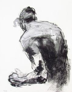 Contemporary Male Figure Drawing - 11 x 14, fine art - Drawing 153 - pastel on paper - original drawing by DerekOverfieldArt
