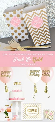 Items similar to Pink and Gold Birthday Party Decor Favor Boxes Blush Pink and Gold Candy Buffet Boxes Birthday Gold Popcorn Boxes - 24 pcs on Etsy 1st Birthday Signs, Birthday Favors, Birthday Diy, 1st Birthday Parties, Birthday Ideas, Birthday Recipes, Birthday Gifts, Gold Candy Buffet, Gold Dessert