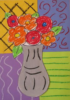 Matisse-Flower Vase Lesson, collage or painting