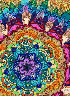 Microcosm+Mandala+Print++Psychedelic+by+PaintMyWorldRainbow,+$15.00