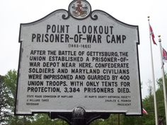 A plaque marks the prisoner-of-war camp at the Point Lookout Lighthouse. Description from dodlive.mil. I searched for this on bing.com/images