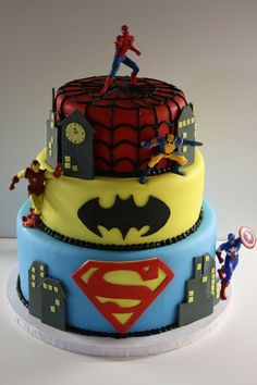 super heroes ..this is the best cake ever!!!.