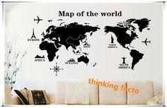 インテリア雑貨 ウォールステッカー 世界地図 シンプル ブラック 簡単 WS2160