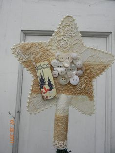 Christmas Muslin and Vintage Lace Star Tree Topper