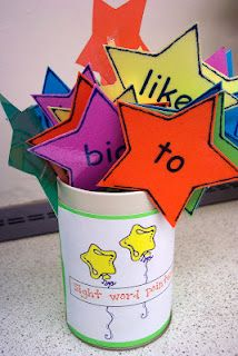 these are sight word pointers and are great for finding sight words in books. The children choose a pointer and look for that word as they read. printed the words on colored cardstock stars and taped them to straws.
