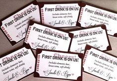 Wedding drink tickets from the bride & groom