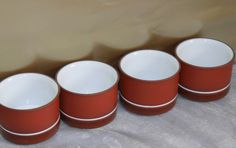 Hornsea Pottery Set of Four Ramekins 1980s Retro by Hornsea Pottery. Sienna Pattern in original box. Perfect Vintage Gift by AtticBazaar on Etsy