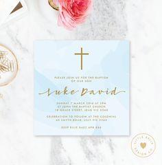 Boy Baptism Invitation Printable / Boy Christening Invite /