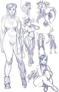 chun-li (street fighter and street fighter iv (series)) drawn by robert porter - Danbooru Female Character Design, Character Design References, Character Drawing, Drawing Poses, Drawing Sketches, Drawings, Girl Pose, Poses References, Anatomy Drawing
