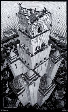 Tower of Babel is a 1928 woodcut by M. C. Escher. Genesis 11:9. ~Repinned Via David Flory