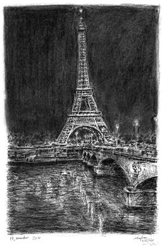 Eiffel Tower at night (Paris) - drawings and paintings by Stephen Wiltshire MBE