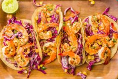 grilled shrimp Looking for an easy grill recipe? This Grilled Shrimp Tacos with Sriracha Slaw Recipe from is the best. Pork Rib Recipes, Slaw Recipes, Grilling Recipes, Fish Recipes, Seafood Recipes, Mexican Food Recipes, Cooking Recipes, Grill Meals, Mexican Cooking
