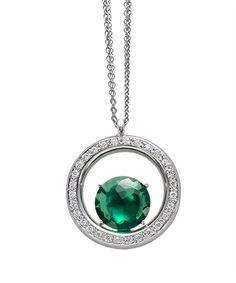 Ciondolo cerchio in argento e zirconi
