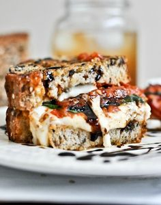 Roasted Tomato Caprese Grilled Cheese with Balsamic Glaze | How Sweet It Is @how sweet eats