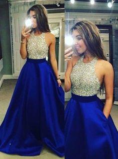 Halter Neck Beaded Long Satin Prom Dress-Royal Blue Backless Evening Prom Dress #LF0721