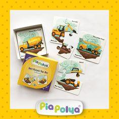 • 30-48 ay çocuklar için tasarlanmış, iş makinaları çizimlerinden oluşmaktadır.  • İçeriği: 118mm x 118mm, kalın mukavva ve selefon kaplı 8 grup, 32 parça zeka geliştirci oyun kartlarıdır.