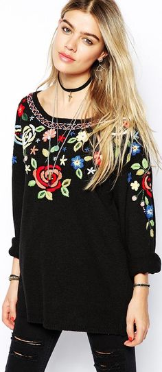 Folk inspired sweater - read about it at http://www.boomerinas.com/2014/10/03/folk-inspired-clothing-modern-folklore-fashions-fall-2014/