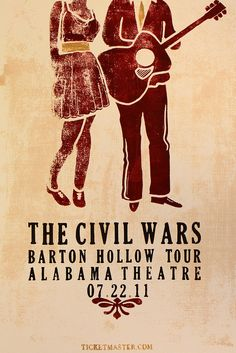 poster: the civil wars, alabama theatre, from samford university