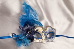 blue Masquerade Masks for Women with feathers   Masquerade Masks - Kids Masks - Halloween Masks