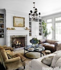 Leather Sofa in a White Living Room