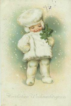 German Ellen Clapsaddle Little Snow Baby with Fir Sprig | eBay